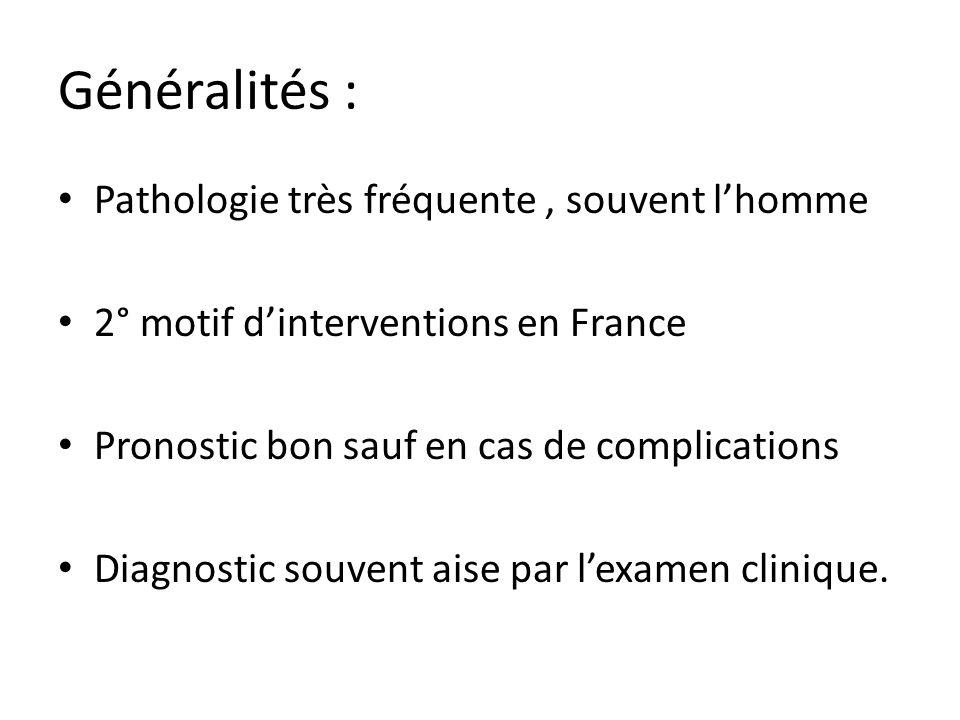 Généralités : Pathologie très fréquente , souvent l'homme
