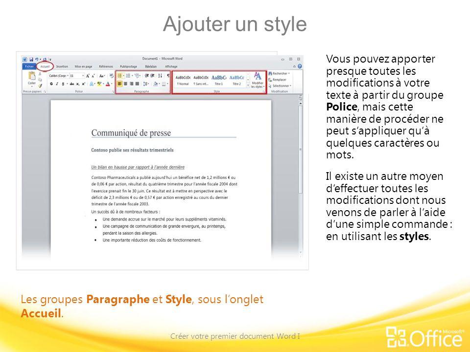 Créer votre premier document Word I