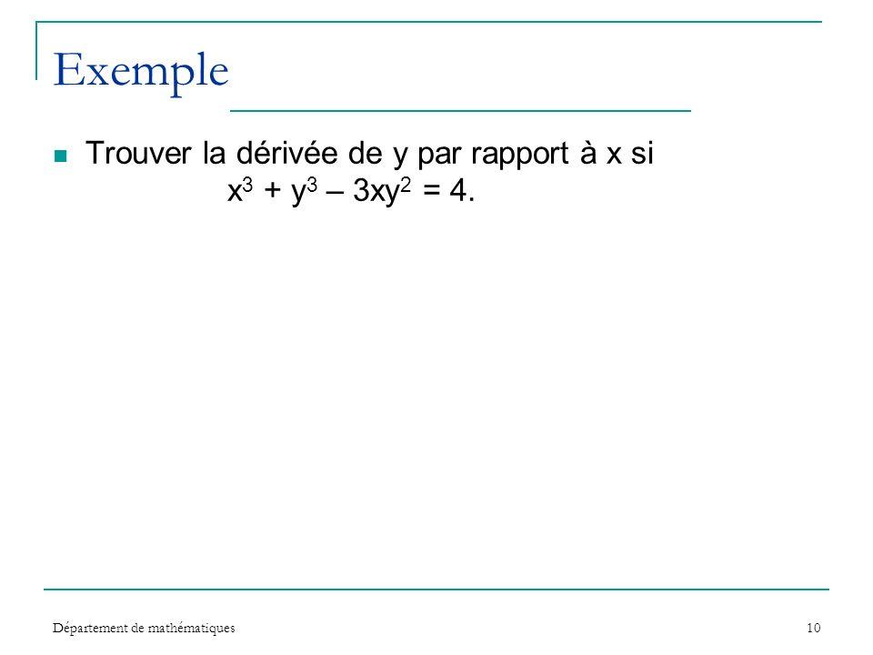 Exemple Trouver la dérivée de y par rapport à x si x3 + y3 – 3xy2 = 4.