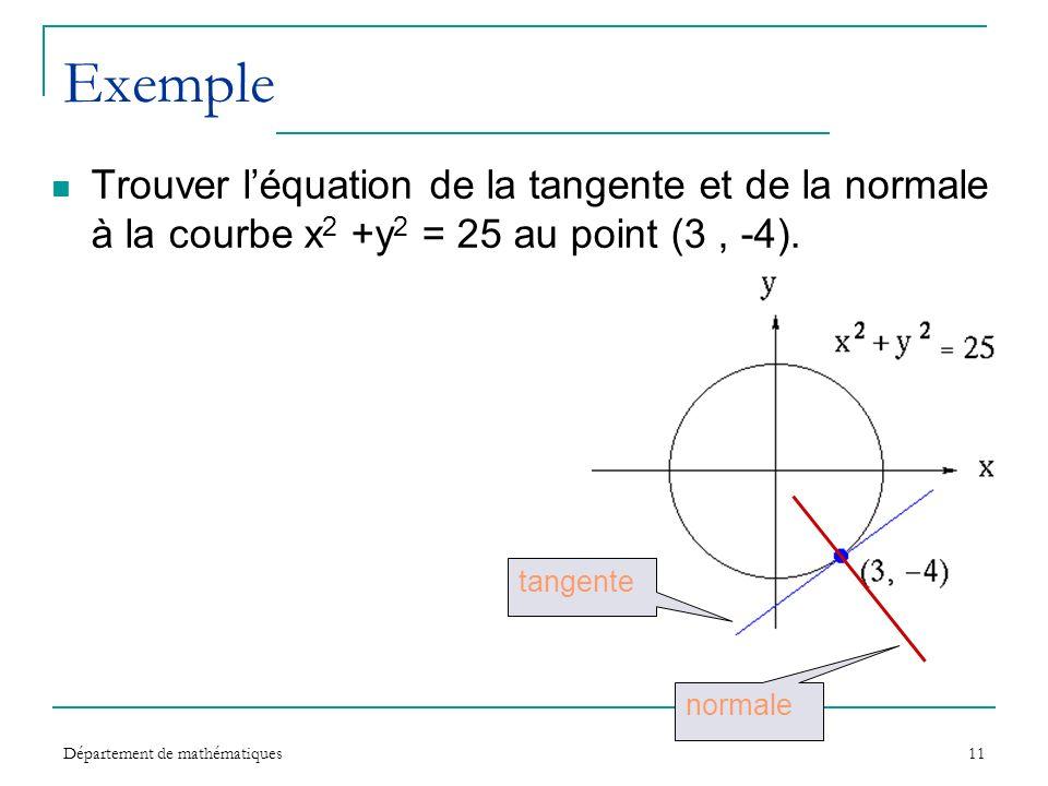 Exemple Trouver l'équation de la tangente et de la normale à la courbe x2 +y2 = 25 au point (3 , -4).