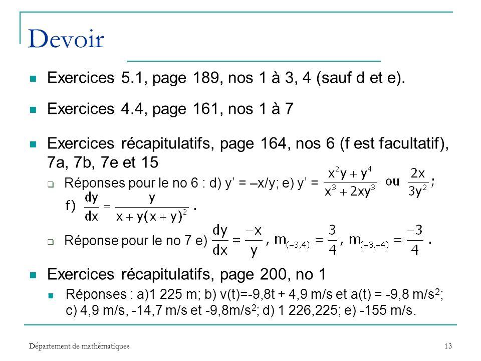 Devoir Exercices 5.1, page 189, nos 1 à 3, 4 (sauf d et e).