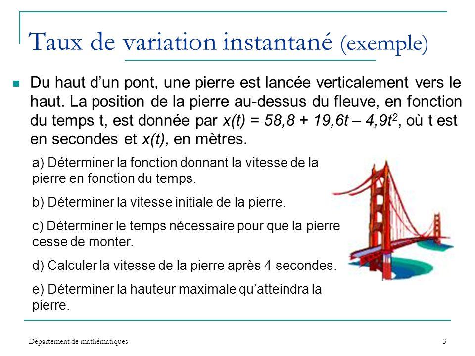 Taux de variation instantané (exemple)