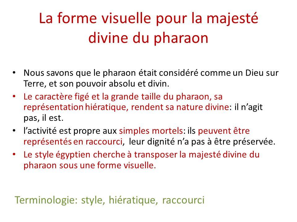 La forme visuelle pour la majesté divine du pharaon