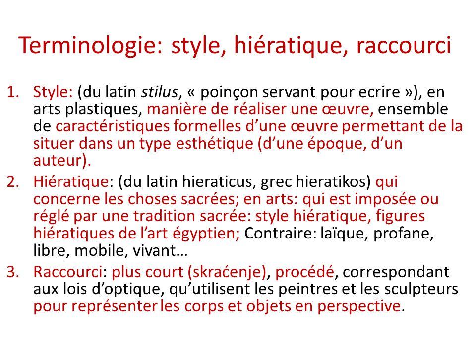 Terminologie: style, hiératique, raccourci