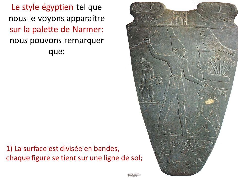 Le style égyptien tel que nous le voyons apparaitre sur la palette de Narmer: nous pouvons remarquer que: