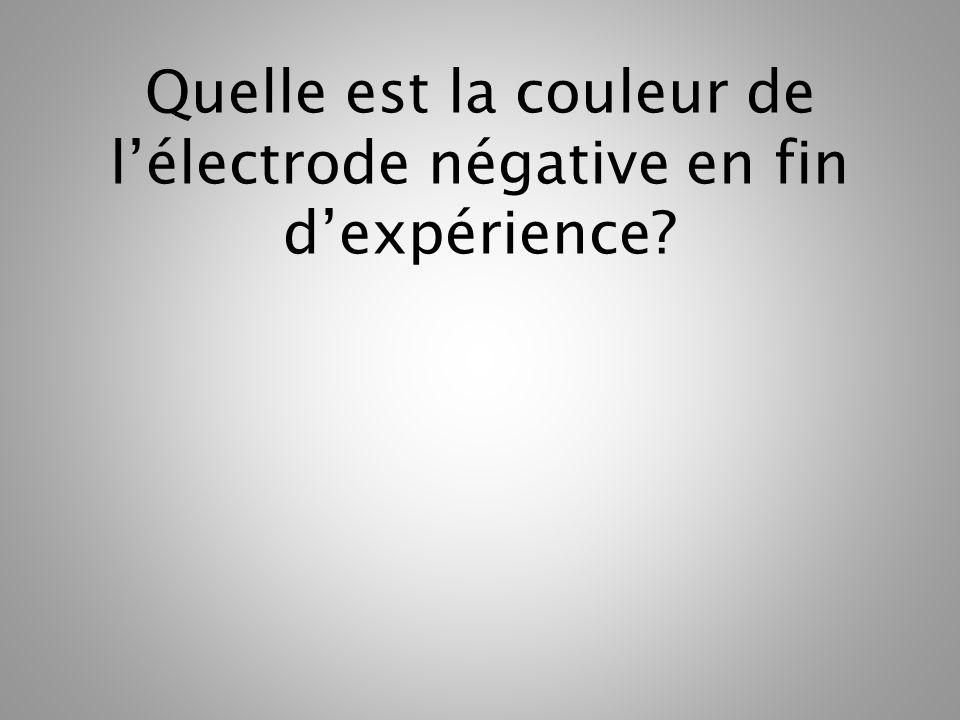 Quelle est la couleur de l'électrode négative en fin d'expérience