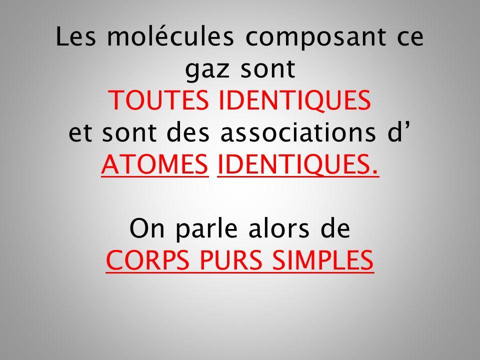 Les molécules composant ce gaz sont TOUTES IDENTIQUES et sont des associations d' ATOMES IDENTIQUES.