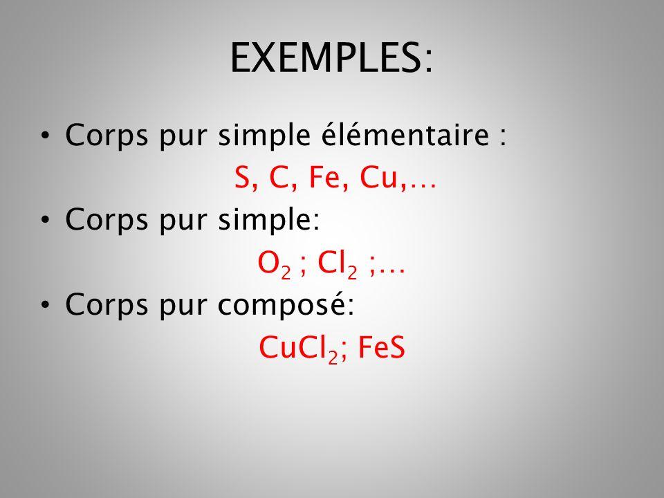 EXEMPLES: Corps pur simple élémentaire : S, C, Fe, Cu,…