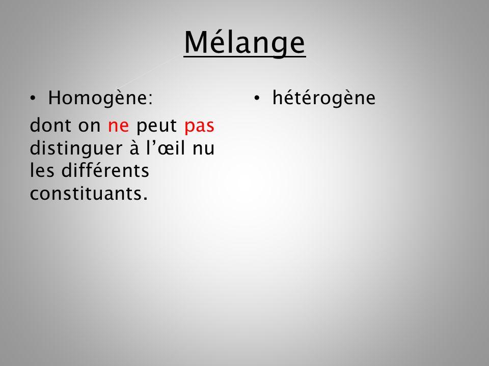 Mélange Homogène: dont on ne peut pas distinguer à l'œil nu les différents constituants. hétérogène