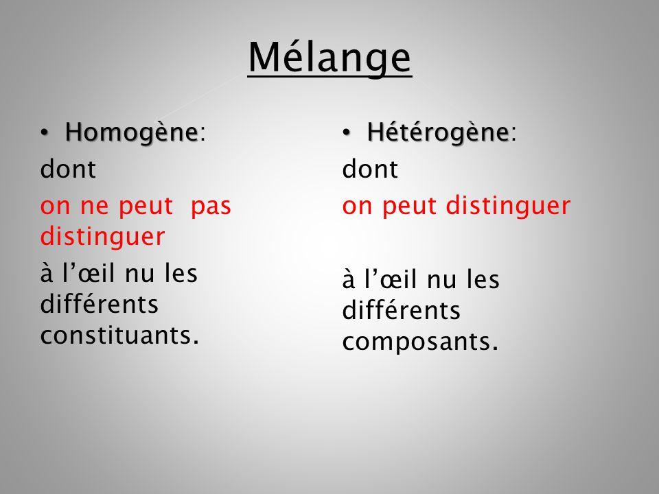 Mélange Homogène: dont on ne peut pas distinguer