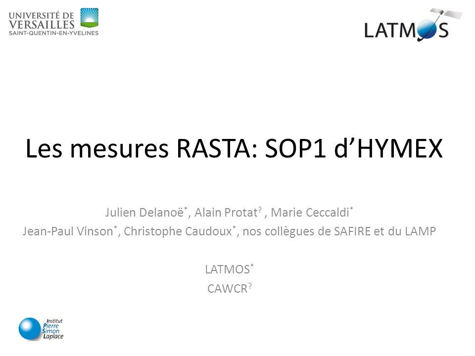 Les mesures RASTA: SOP1 d'HYMEX