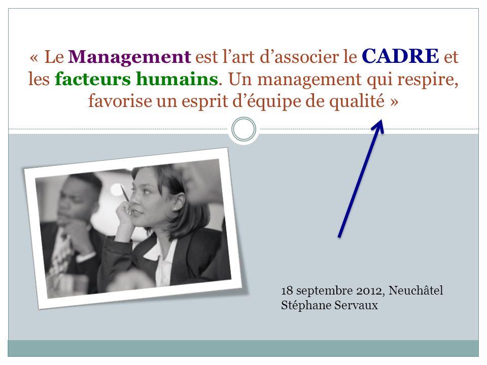 « Le Management est l'art d'associer le CADRE et les facteurs humains