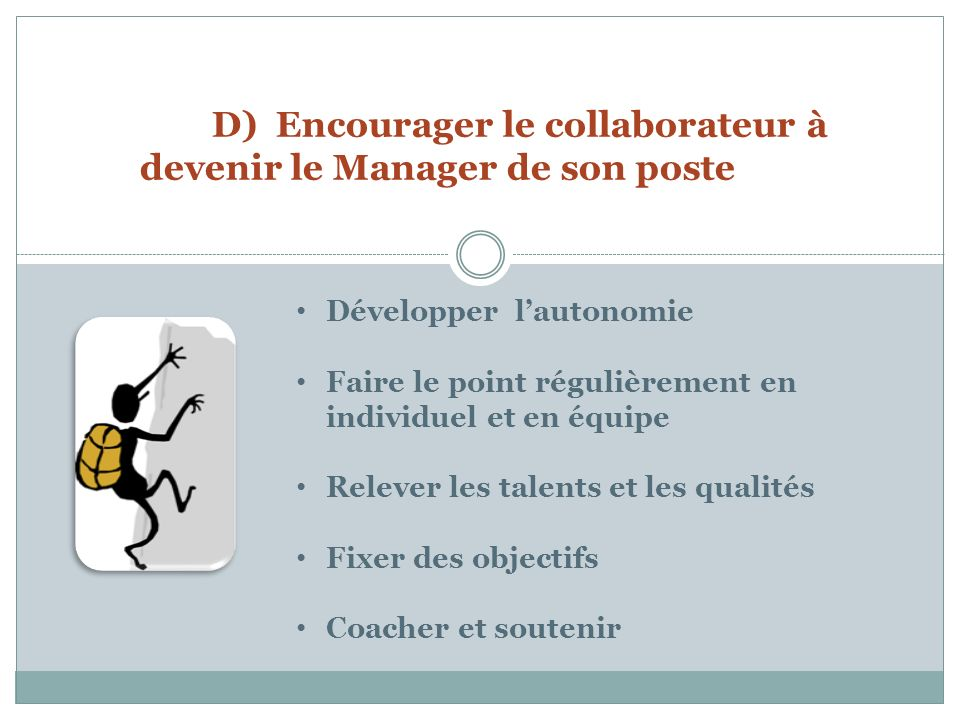 D) Encourager le collaborateur à devenir le Manager de son poste