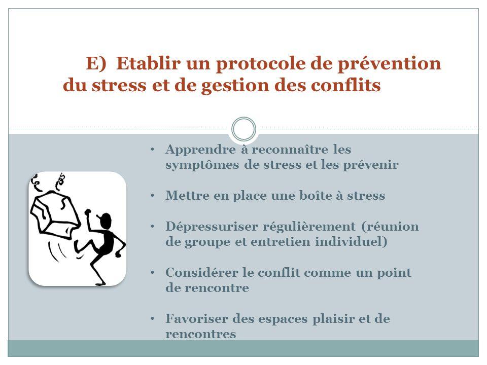 E) Etablir un protocole de prévention du stress et de gestion des conflits
