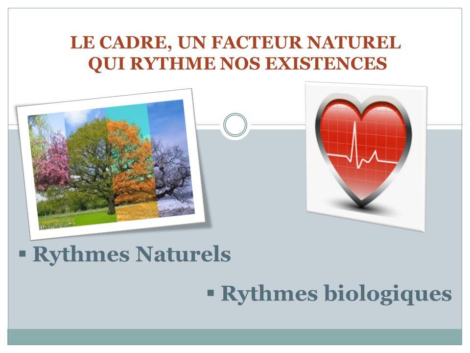 LE CADRE, UN FACTEUR NATUREL QUI RYTHME NOS EXISTENCES