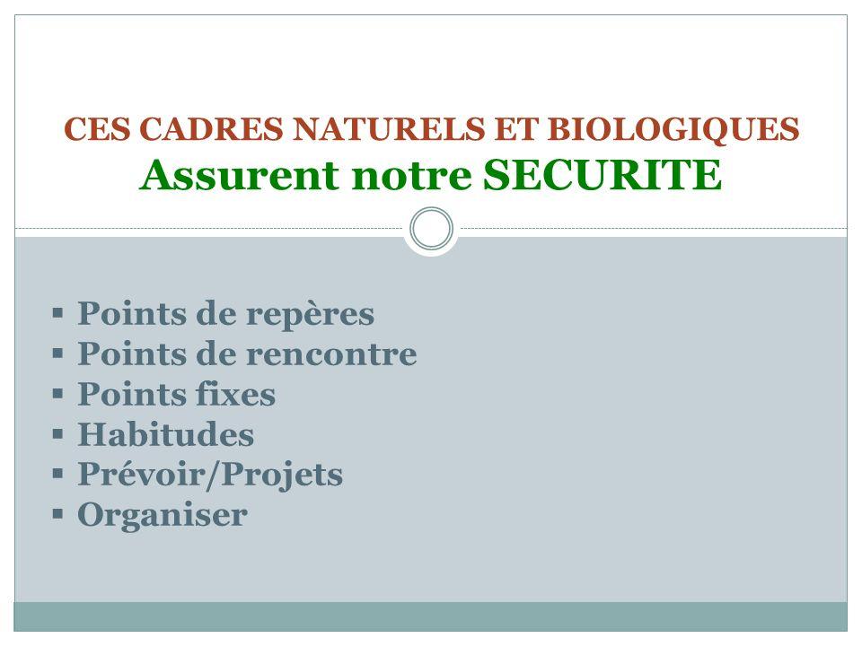 CES CADRES NATURELS ET BIOLOGIQUES Assurent notre SECURITE