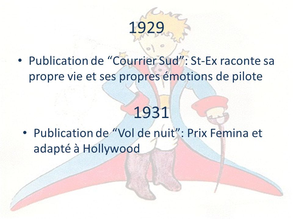 1929 Publication de Courrier Sud : St-Ex raconte sa propre vie et ses propres émotions de pilote. 1931.