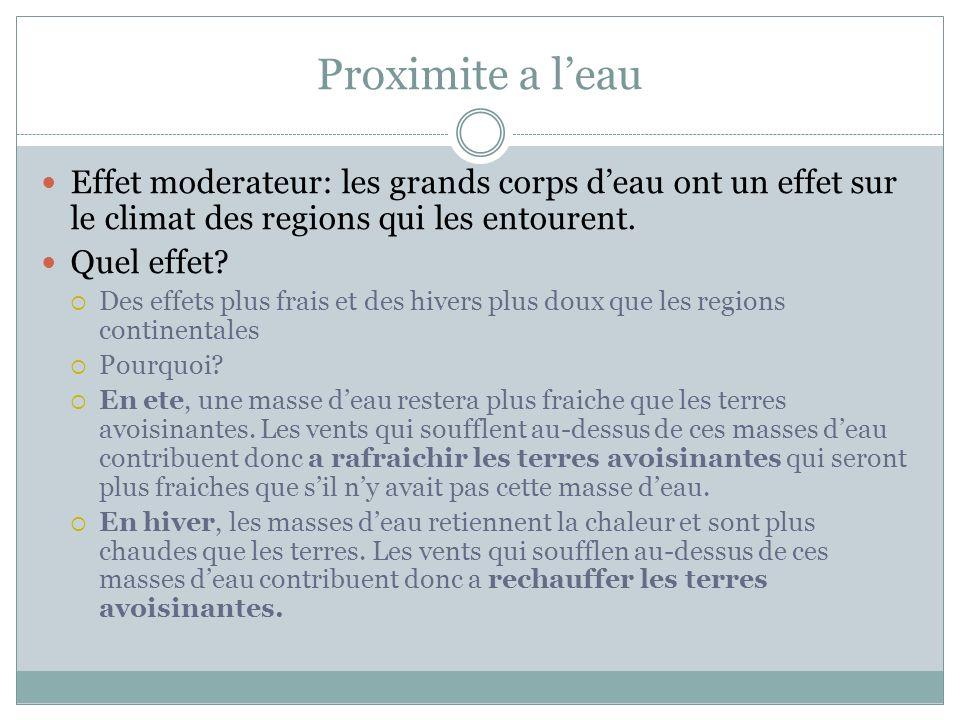 Proximite a l'eau Effet moderateur: les grands corps d'eau ont un effet sur le climat des regions qui les entourent.
