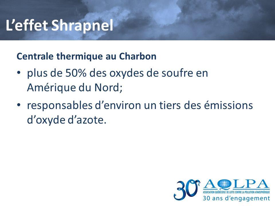 L'effet Shrapnel plus de 50% des oxydes de soufre en Amérique du Nord;