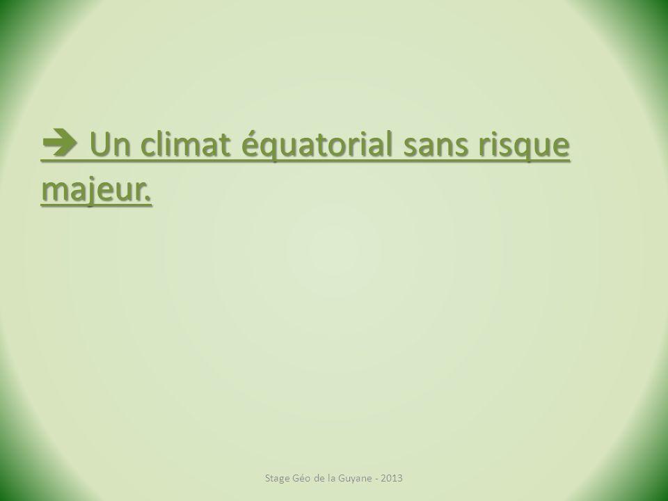  Un climat équatorial sans risque majeur.