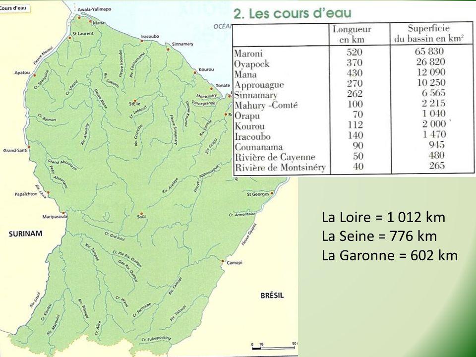 La Loire = 1 012 km La Seine = 776 km La Garonne = 602 km