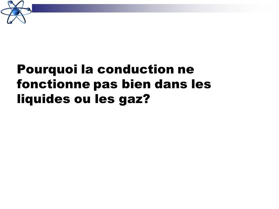 Pourquoi la conduction ne fonctionne pas bien dans les liquides ou les gaz