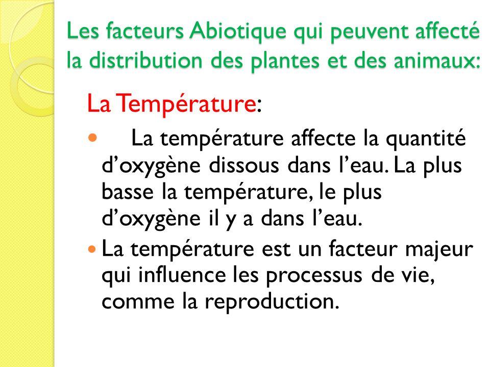 Les facteurs Abiotique qui peuvent affecté la distribution des plantes et des animaux: