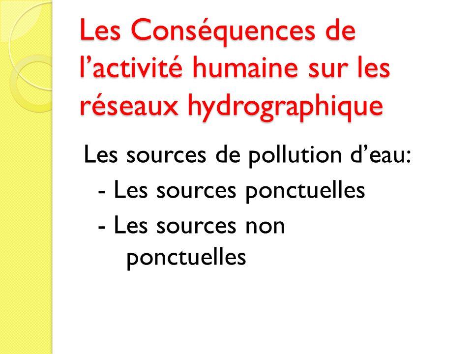 Les Conséquences de l'activité humaine sur les réseaux hydrographique