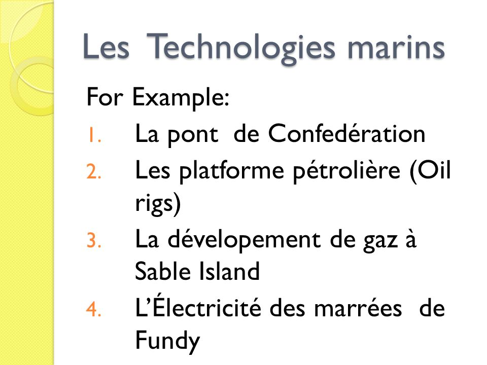Les Technologies marins