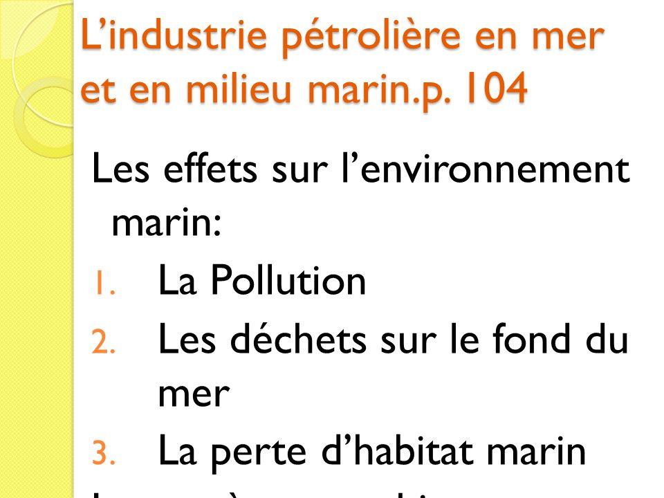 L'industrie pétrolière en mer et en milieu marin.p. 104