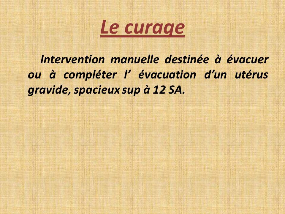 Le curageIntervention manuelle destinée à évacuer ou à compléter l' évacuation d'un utérus gravide, spacieux sup à 12 SA.
