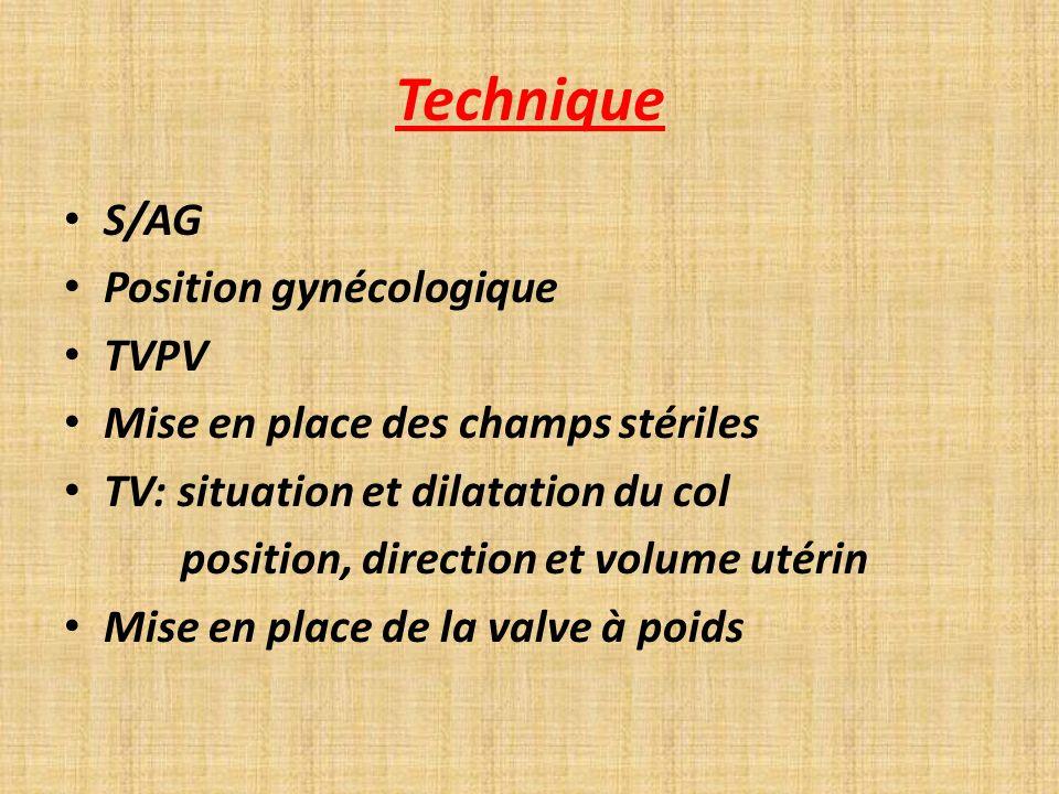 Technique S/AG Position gynécologique TVPV