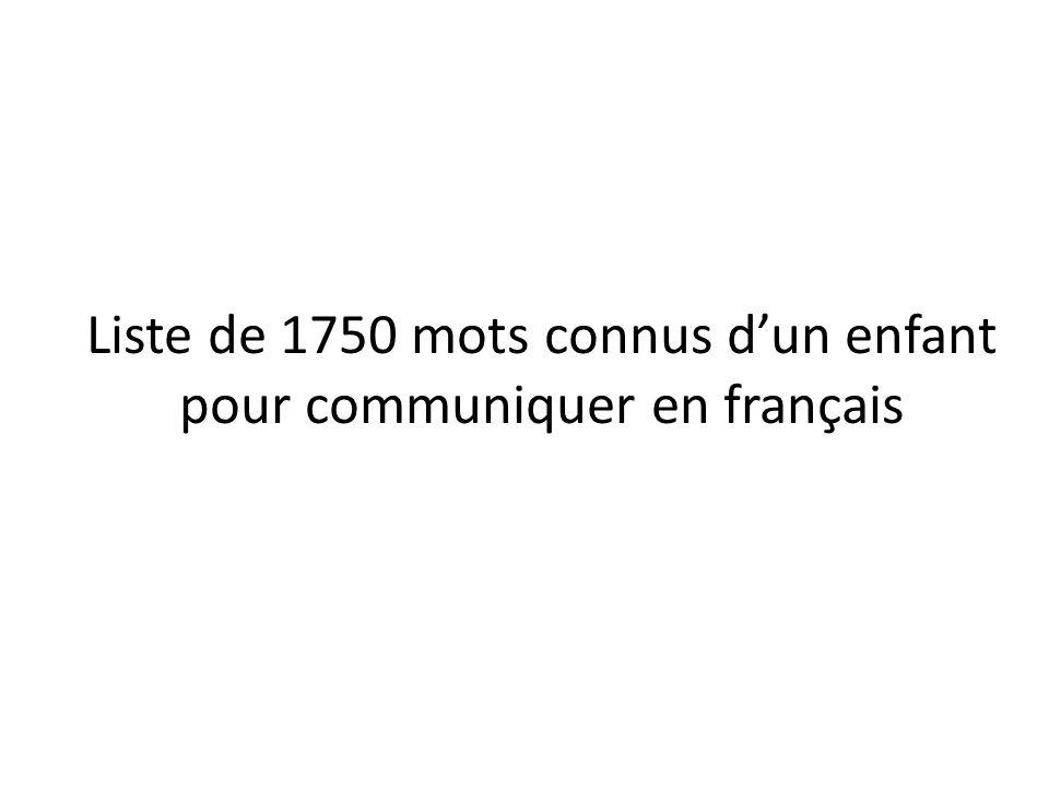 Liste de 1750 mots connus d'un enfant pour communiquer en français