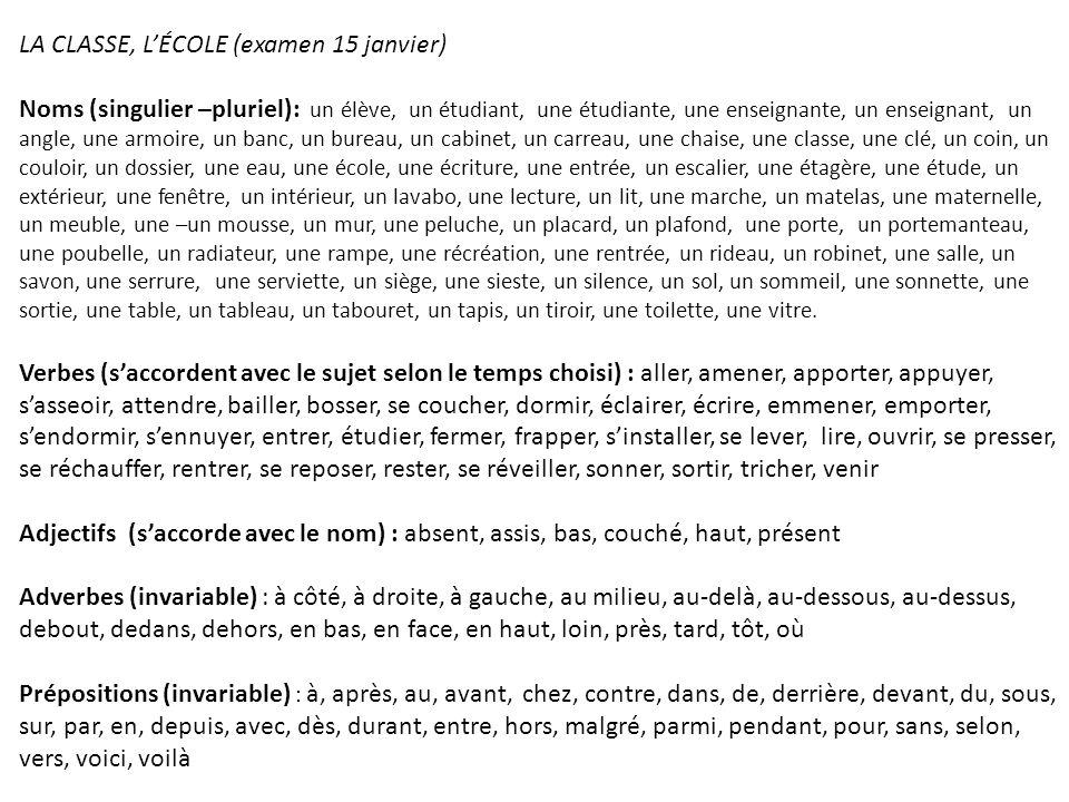 LA CLASSE, L'ÉCOLE (examen 15 janvier)
