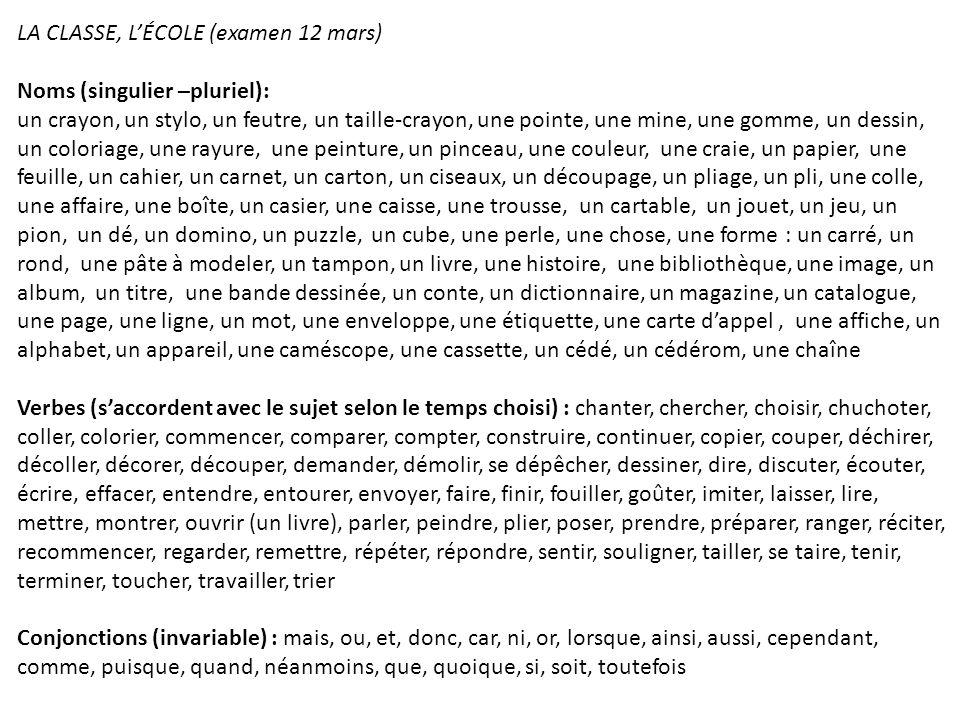 LA CLASSE, L'ÉCOLE (examen 12 mars)