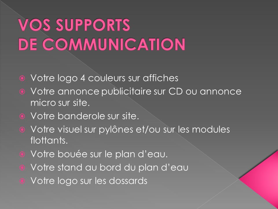 VOS SUPPORTS DE COMMUNICATION