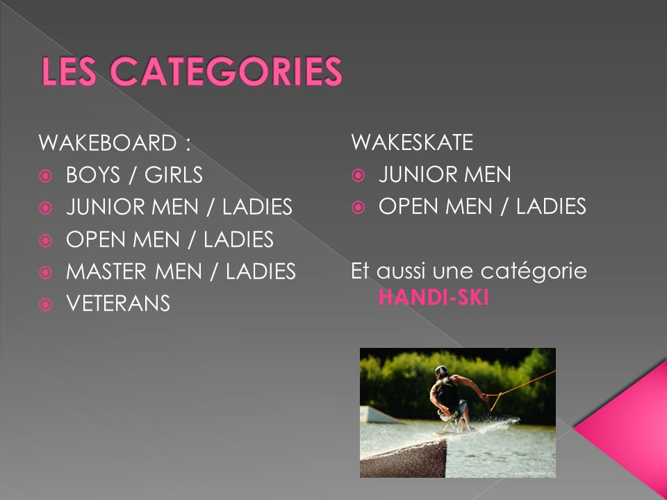LES CATEGORIES WAKEBOARD : WAKESKATE BOYS / GIRLS JUNIOR MEN