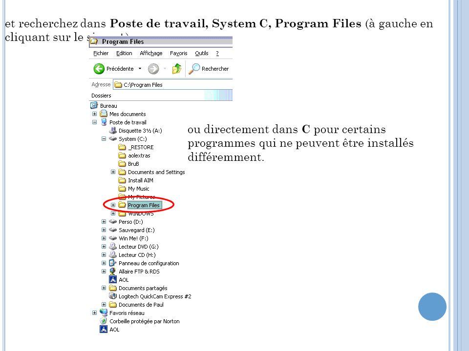 et recherchez dans Poste de travail, System C, Program Files (à gauche en cliquant sur le signe +)
