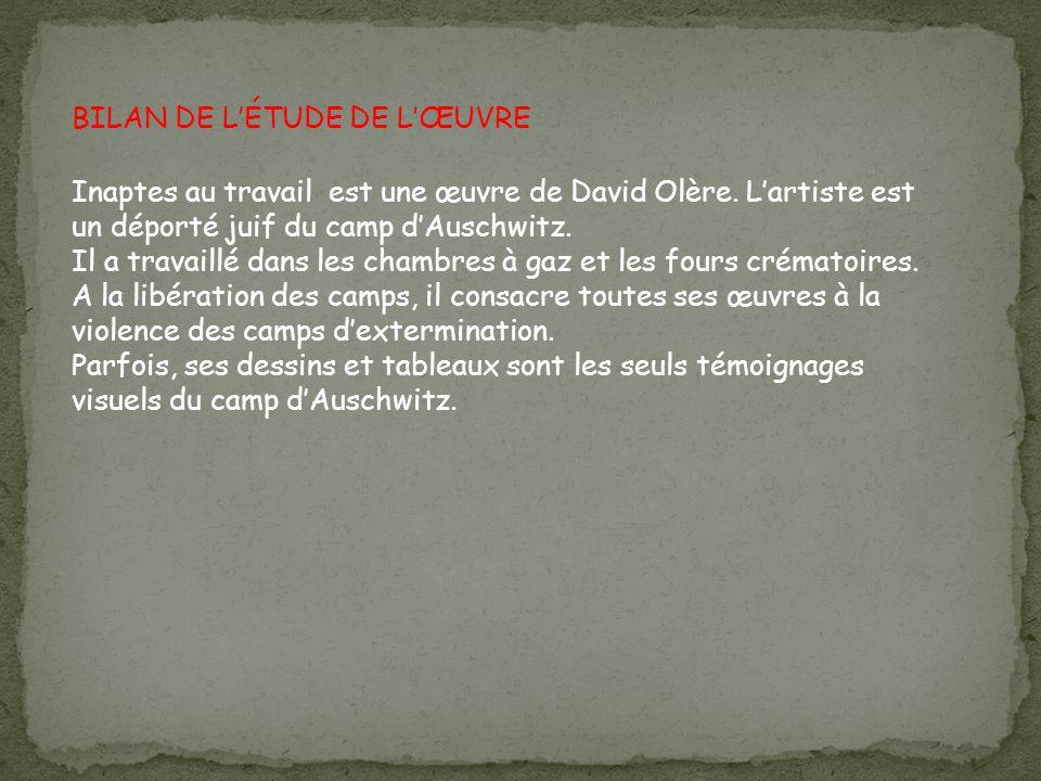 BILAN DE L'ÉTUDE DE L'ŒUVRE