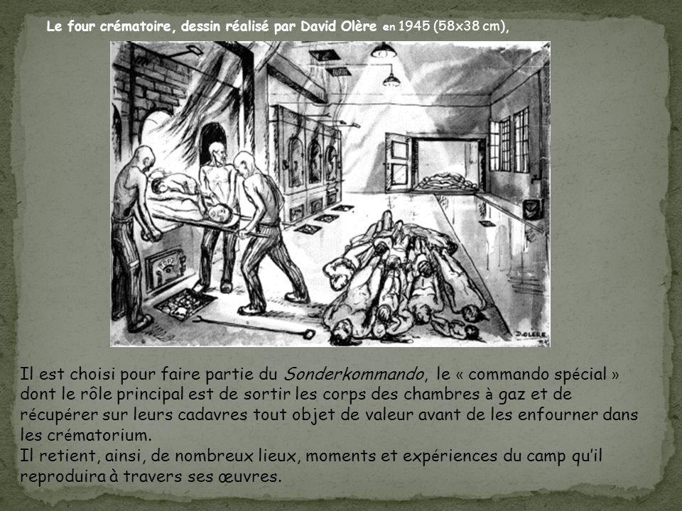 Le four crématoire, dessin réalisé par David Olère en 1945 (58x38 cm),