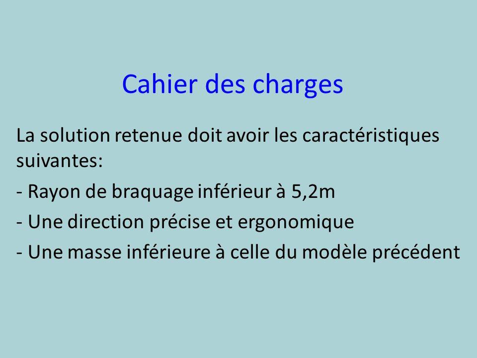 Cahier des charges La solution retenue doit avoir les caractéristiques suivantes: Rayon de braquage inférieur à 5,2m.