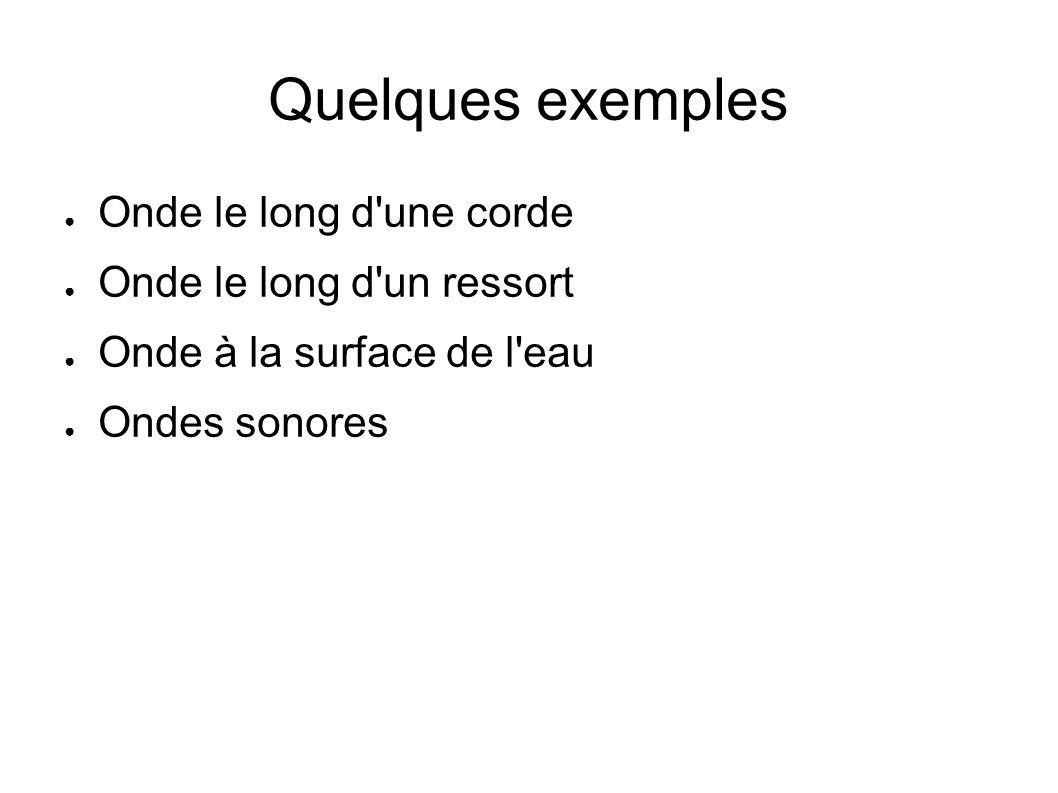 Quelques exemples Onde le long d une corde Onde le long d un ressort