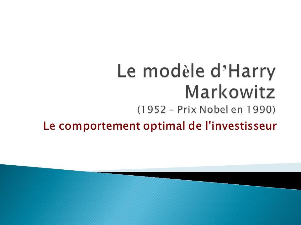 Le modèle d'Harry Markowitz (1952 – Prix Nobel en 1990)