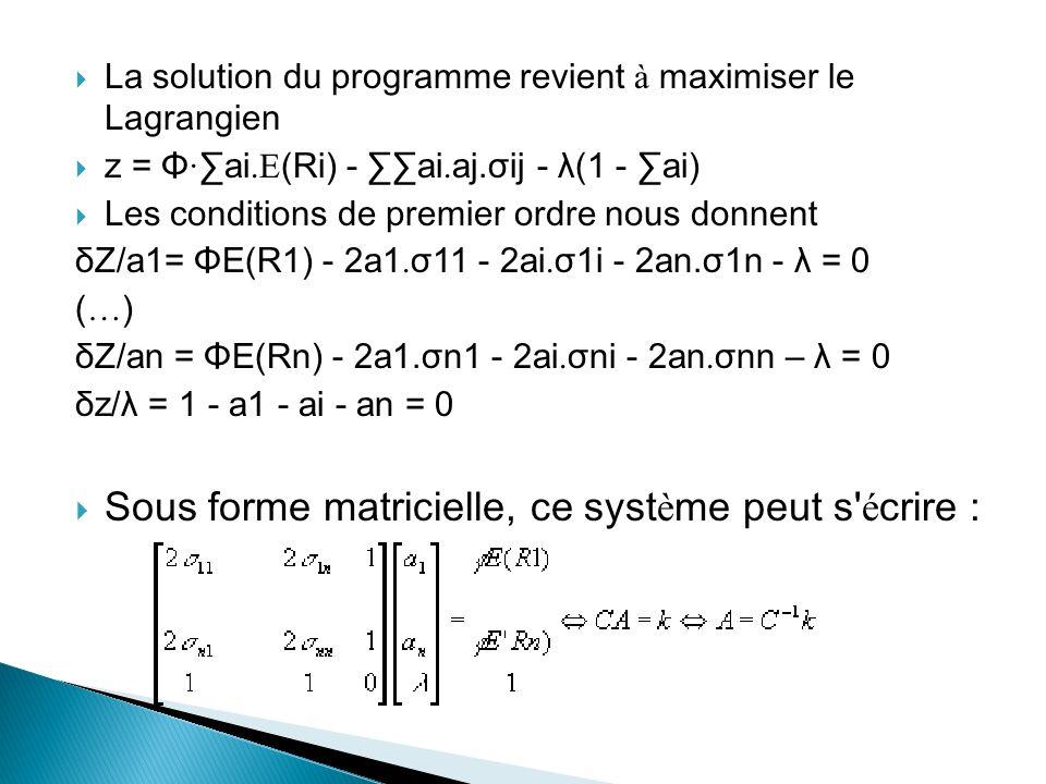 Sous forme matricielle, ce système peut s écrire :