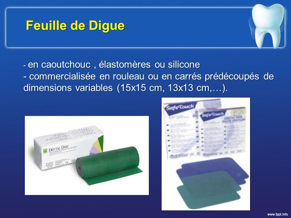 Feuille de Digue - en caoutchouc , élastomères ou silicone. - commercialisée en rouleau ou en carrés prédécoupés de.