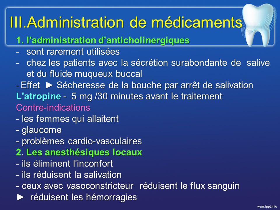 III.Administration de médicaments
