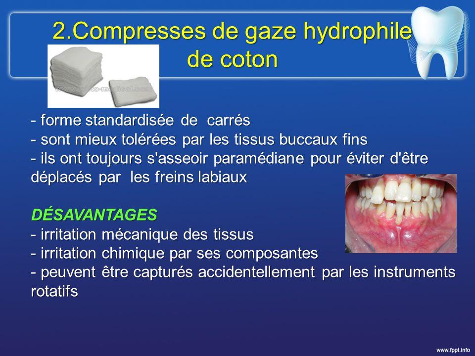 2.Compresses de gaze hydrophile de coton