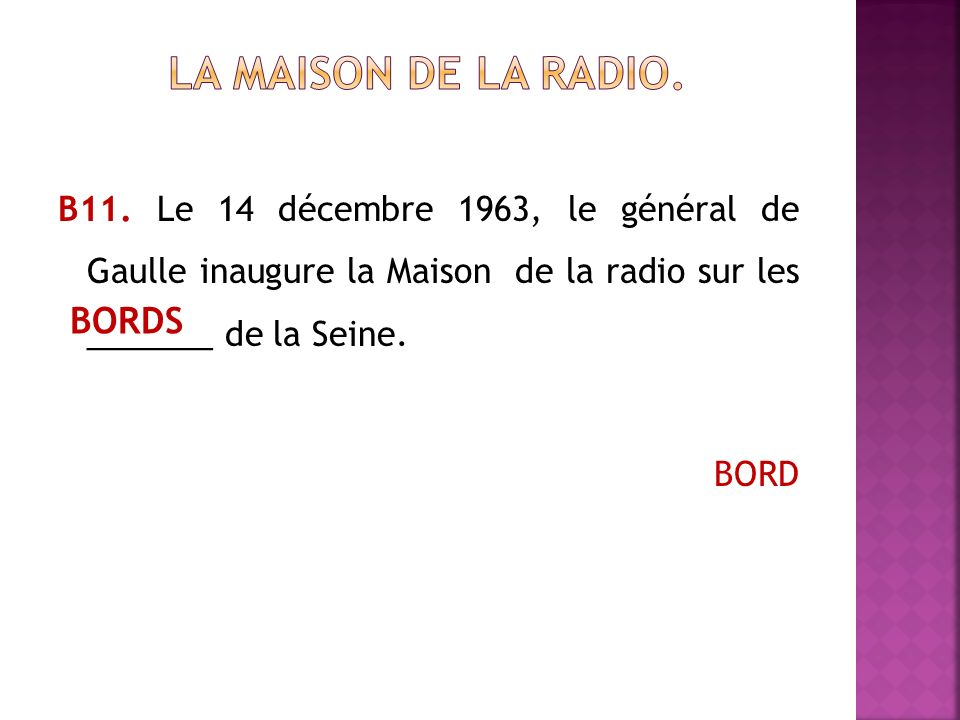 La Maison de la radio. BORDS