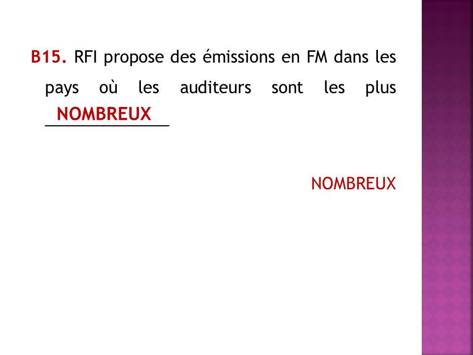 В15. RFI propose des émissions en FM dans les pays où les auditeurs sont les plus ______________ NOMBREUX