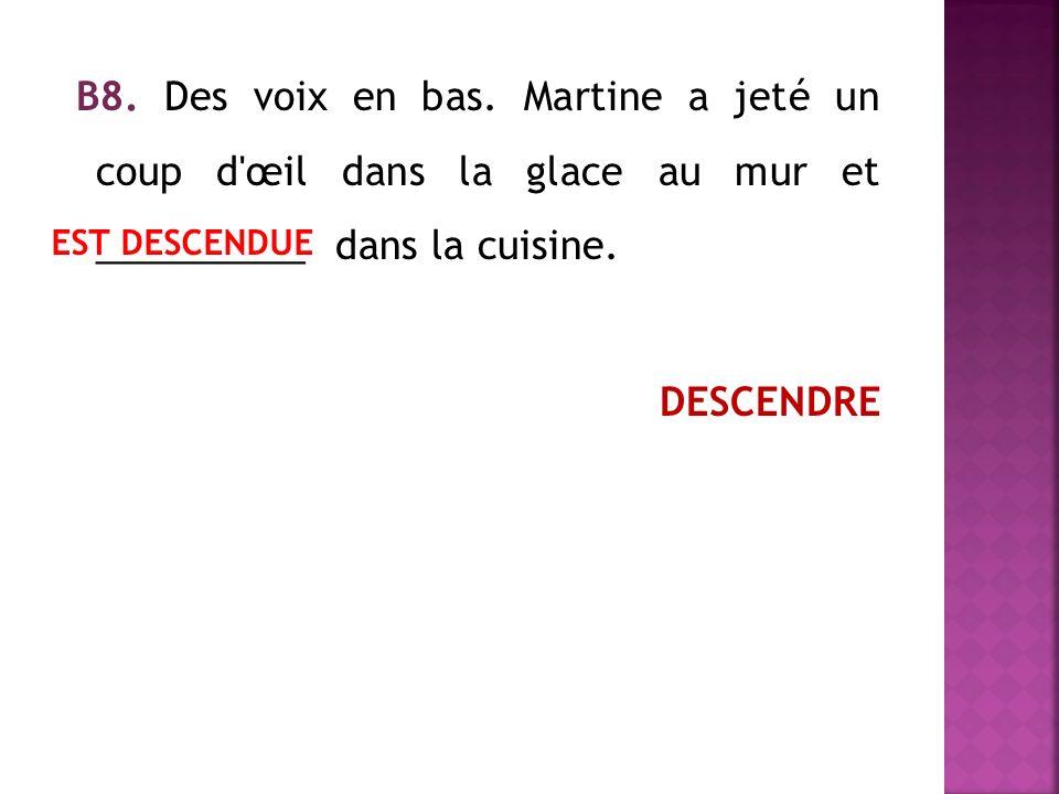 В8. Des voix en bas. Martine a jeté un coup d œil dans la glace au mur et __________ dans la cuisine. DESCENDRE